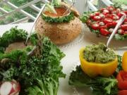 Variety of vegetarian dishes spread out in a wedding