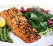 Dijon Crusted Salmon On Arugula With Dill Vinaigrette