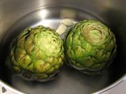 Artichokes are boile in water for 30-45 min