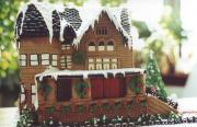 The intricately built gingerbread house