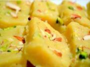 Kesar Badam Burfi - Saffron Flavored Almond Fudge