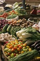 Buying healthy seasonal vegetables at the market for holidays