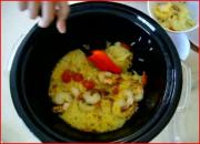 Solar Cooked Spanish Style Shrimp Paella