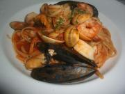 Bucatini with Tomatoes and Seafood
