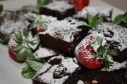 berry sugar sprinkled on brownies