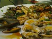 Grilled seafood.