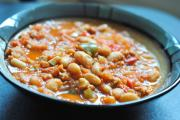 Beans with Spiced Pepper Sausage
