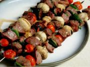Peach Smoked Sesame Chicken & Beef Kebabs