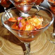 Gorgeous and exotic shrimp martini.