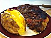 Grilled Ribeye and Baked Potatoes on the Weber Kettle