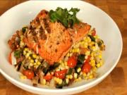 Grilled Salmon with A Roasted Corn Succotash
