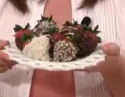 Strawberries Dipped in Chocolate, Coconut and Almonds