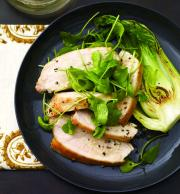 Mustard Glazed Chicken with Arugula and Bok Choy