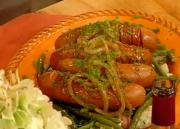 Ale Braised Sausages with Green Beans and Mashed Potatoes