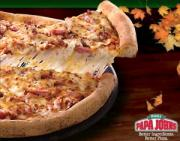 Double Bacon Pizza by Papa Johns is prepared using 6 types of cheese.