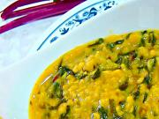 Moong Dal And Beet Bhaji Curry - Yellow Lentils And Beet Greens Curry