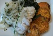 Steamed Cod with Roasted Sweet Potatoes and Kale