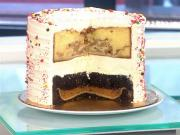 Pumpple is a new age hybrid cake made of apple pie, pumpkin pie, chocolate cake and vanilla cake