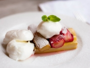 Poached Meringue with Baked  Rhubarb