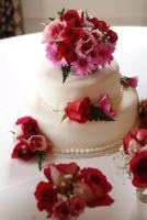 cake decorated with rose buds