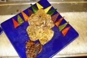 duet of chicken and beef heart in sesame seeds.