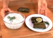Stuffed Grapes Leaves with Yogurt Sauce