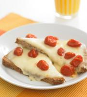 "Cheese Melts Topped with Tomato ""Raisins"""