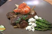 Beef Mushroom Steak with Asparagus and Buttered Lobster