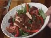 Caribbean Jerk Chix over a bed of Arugala at Cooks Corner on WMUR Channel 9