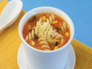 Corn and Fusilli Soup by Tarla Dalal