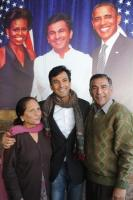 Chef Vikas Khanna with his parents at a press conference
