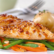 Juicy mouthwatering chicken breast prepared after soaking in brine