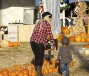 Christina Aguilera and Max checking out some pumpkins