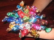 Storing toffees by keeping them wrapped in colorful papers