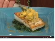 Halibut Florentine with Mango Salsa
