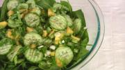 Cucumber and Mango Over Spinach