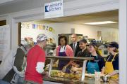 First lady Michelle Obama at Miriam's Kitchen