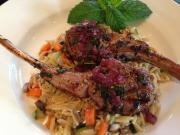 Greek Lamb Chops with Red Wine Reduction Sauce and Vegetable Orzo