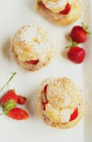 Mocha Cream Puffs served with Fresh Strawberries.