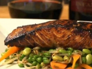 Gingered Vegetables paired with Bourbon and Soy Roasted Salmon