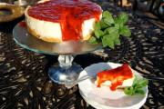 Fix cracked cheesecake by dressing, garnishing and slicing it.