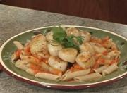 Scallops and Penne with Roasted Pepper Sauce
