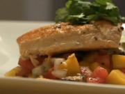 Pan Roasted Salmon with Truffle Mango Salsa