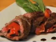 Roasted Vegetable Stuffed Flank Steak Paired with Heinens Red Wine