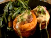 Pan Seared Striploin in Yorkshire Puddings with Bearnaise Sauce and Roasted Pear and Arugula Salad