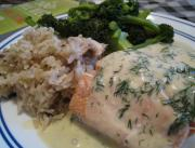 Poached Salmon With Mousseline Sauce