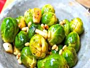 Wine and Herb Infused Christmas Brussels Sprouts with Toasted Pine Nuts