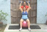 Intermediate Exercises - Shoulders - Fitball Dumbbell Press