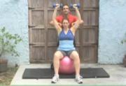 Intermediate Exercises - Shoulders - Fitball Dumbbell Press