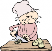 A  chef fighting tears while chopping onions